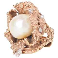 Natural Pearl Diamond Bronze Ring
