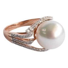 Natural Pearl Diamond Ring in 18 Karat Solid Gold, South Sea Pearl Diamond Ring
