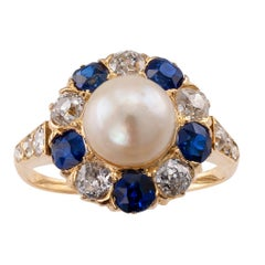 Natural Pearl Diamond Sapphire Victorian Gold Ring