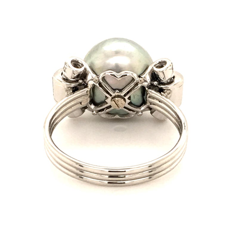 Natural Pearl Ring with Diamonds in Platinum 5