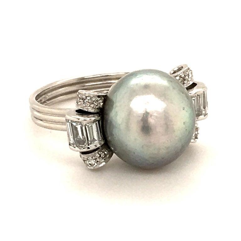 Baguette Cut Natural Pearl Ring with Diamonds in Platinum