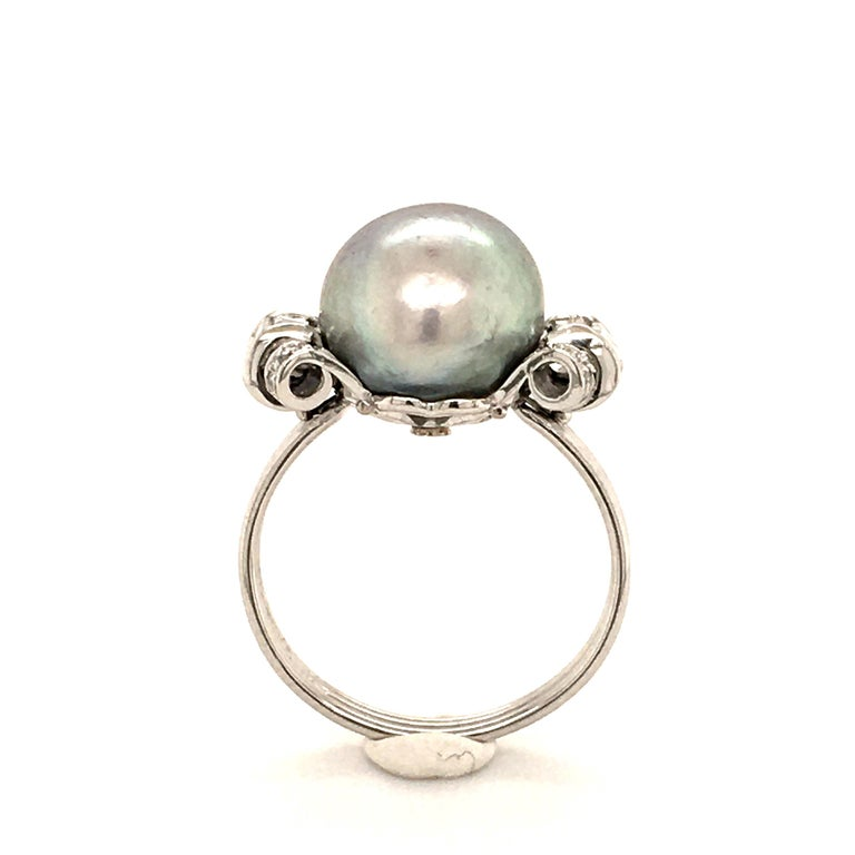 Natural Pearl Ring with Diamonds in Platinum 1
