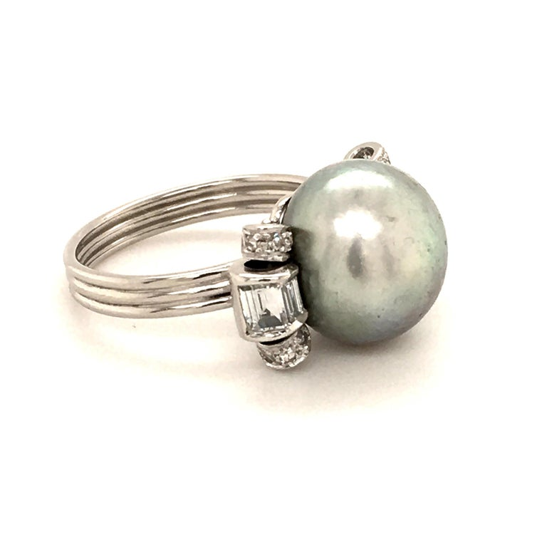 Natural Pearl Ring with Diamonds in Platinum 2