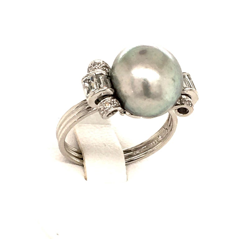 Natural Pearl Ring with Diamonds in Platinum 3