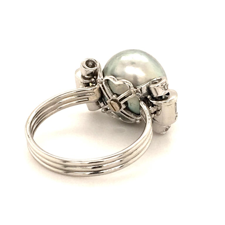 Natural Pearl Ring with Diamonds in Platinum 4