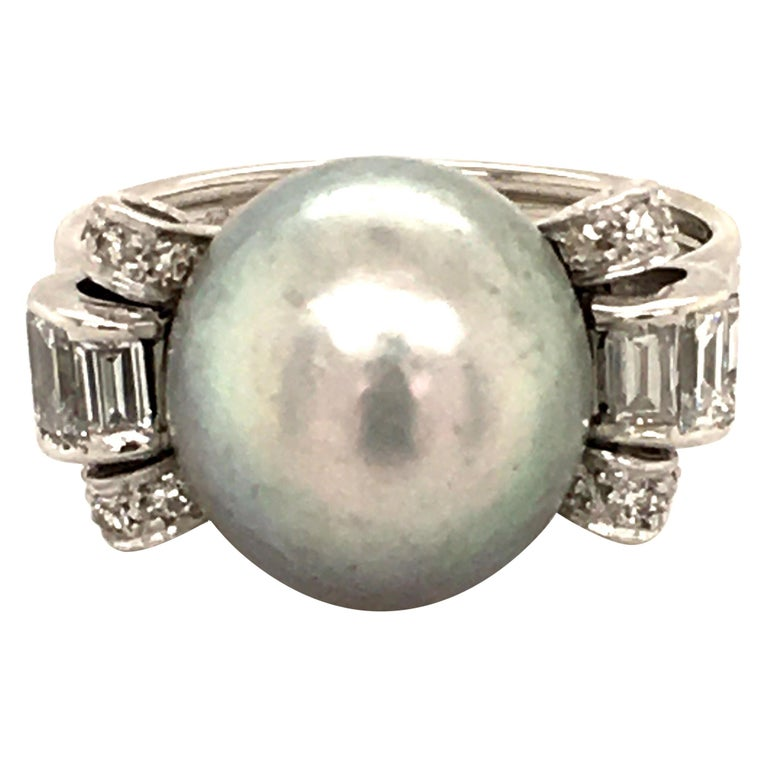 Natural Pearl Ring with Diamonds in Platinum