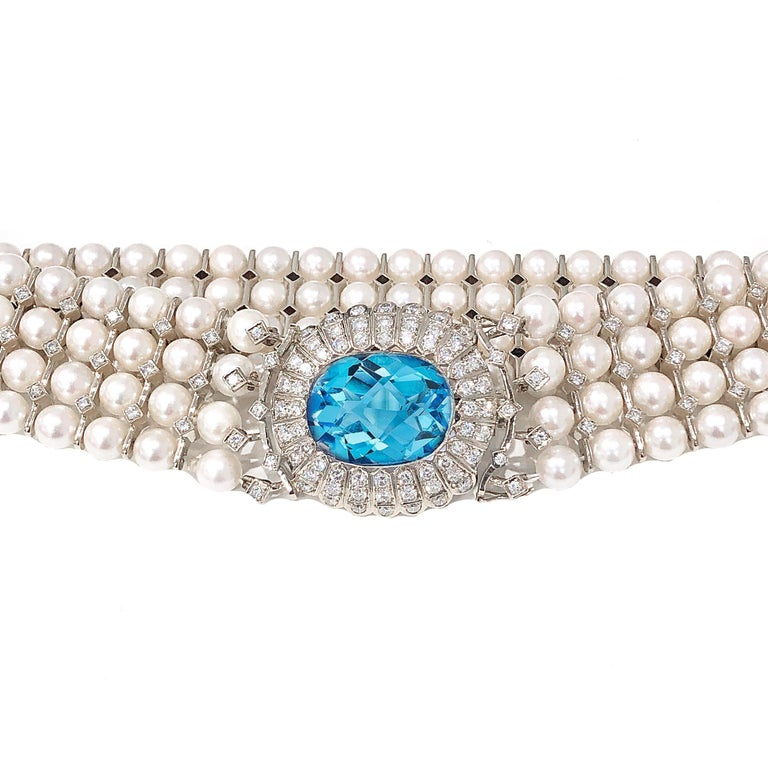 Art Deco Natural Pearl, Topaz and White Diamond Choker Necklace and Bracelet Set For Sale