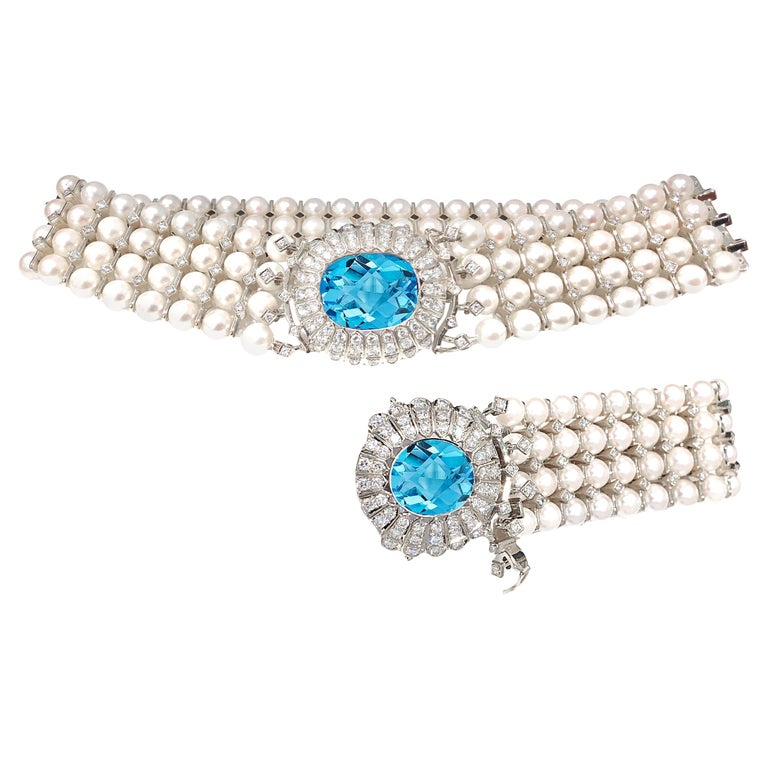 Natural Pearl, Topaz and White Diamond Choker Necklace and Bracelet Set For Sale