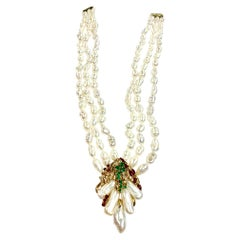 Natural Pearl Trio Strand Necklace with Emerald, Ruby, and Diamonds