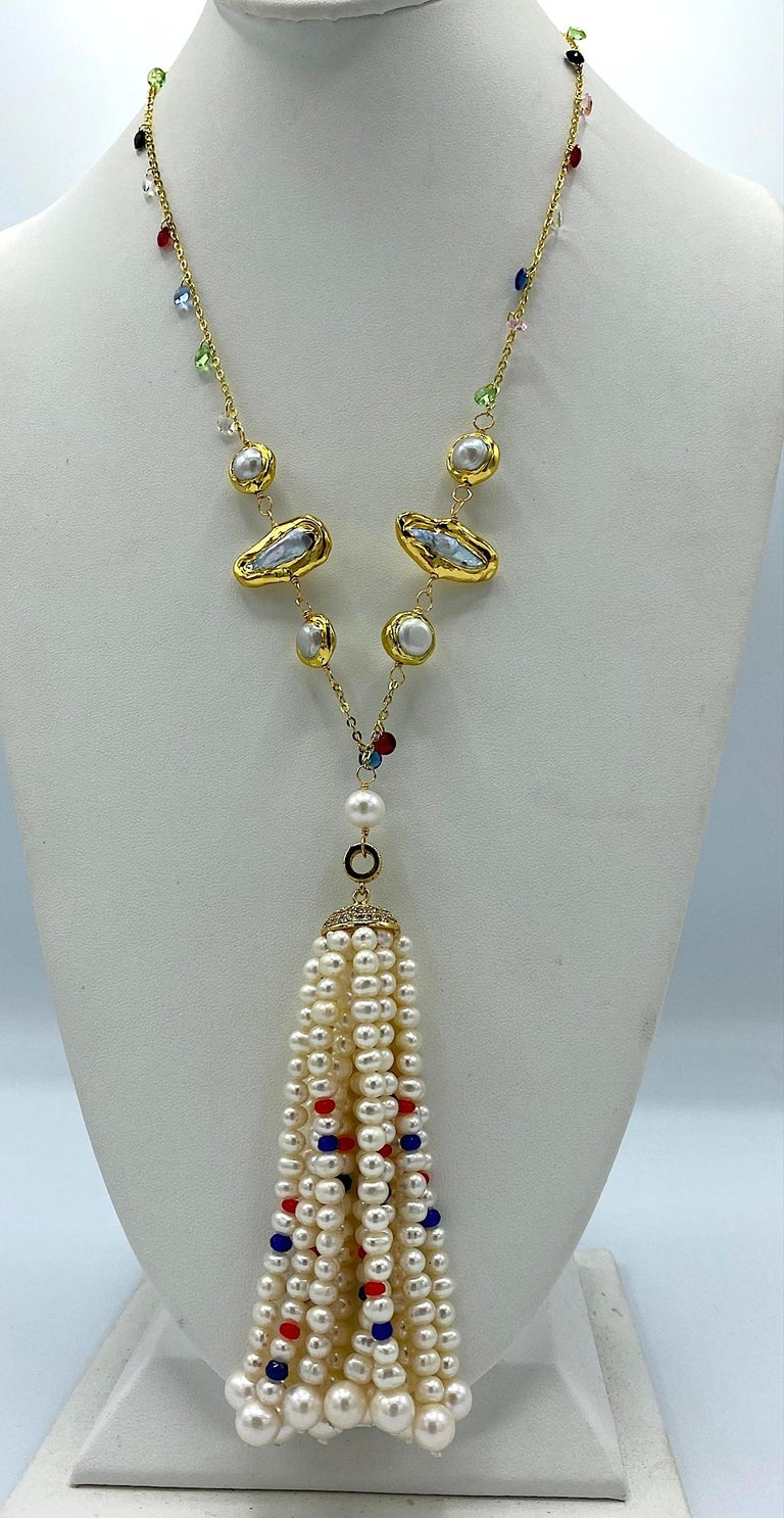 Briolette Cut Natural Pearl with Ruby, Sapphire and Crystal bead Tassel Necklace