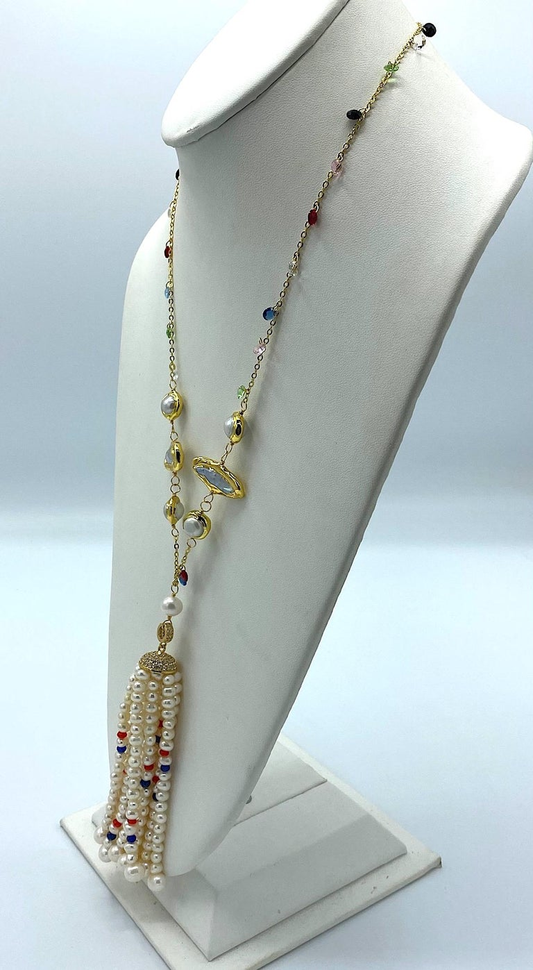 Natural Pearl with Ruby, Sapphire and Crystal bead Tassel Necklace In Good Condition In New York, NY