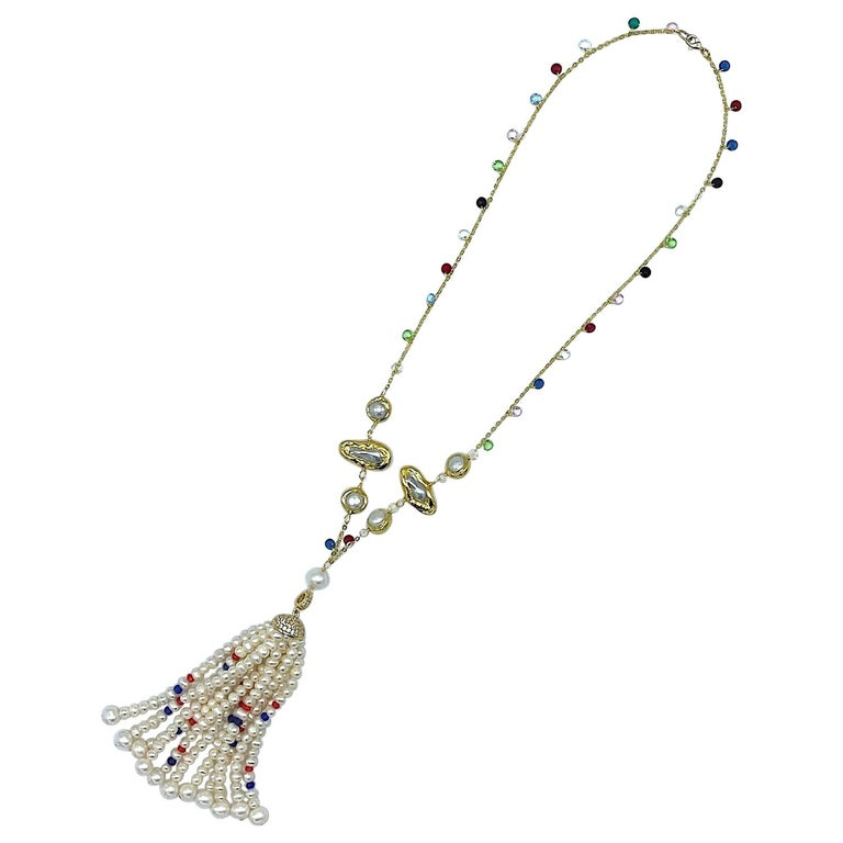 Natural Pearl with Ruby, Sapphire and Crystal bead Tassel Necklace