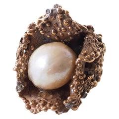 Natural Pearls Diamonds Bronze Ring