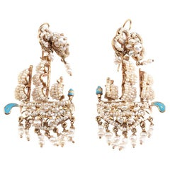 Natural Pearls Enamel 18 Karat Gold Earrings
