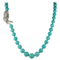 Natural Persian Turquoise 6.40 Carat Diamond Clasp Rare Vintage Necklace