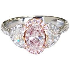 Natural Pink and White Diamond Cocktail Ring in 18 Karat White Gold