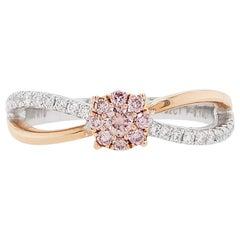 Natural Argyle Pink Diamond in Platinum and 18K Pink Gold Bridal Ring
