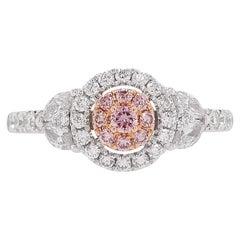 Natural Argyle Pink Diamond in Platinum and 18K Pink Gold Wedding Ring