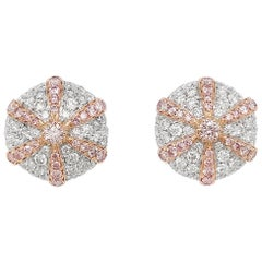 Natural Argyle Pink Diamond in Platinum and 18K Pink Gold Stud Earrings