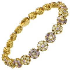 Natural Pink and Yellow Colored Diamond Floret Bracelet