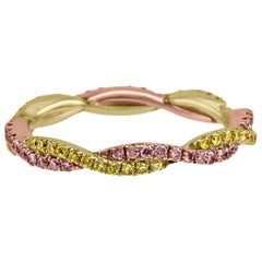 Natural Pink and Yellow Diamond Rope Twist Two-Color Gold Fashion Band Ring