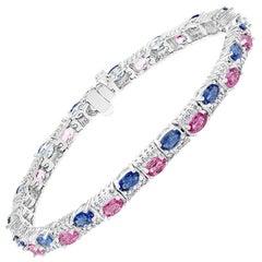 Natural Pink and Blue Sapphires with Diamond Tennis Bracelet 14 Karat White Gold