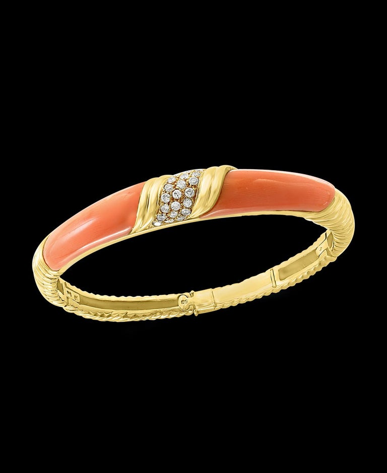 Natural Pink Coral and Diamond Cuff Bangle Bracelet in 18 Karat Yellow Gold In Excellent Condition For Sale In Scarsdale, NY