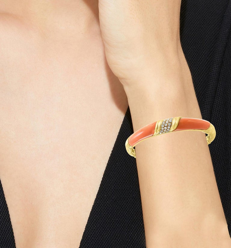 Women's Natural Pink Coral and Diamond Cuff Bangle Bracelet in 18 Karat Yellow Gold For Sale