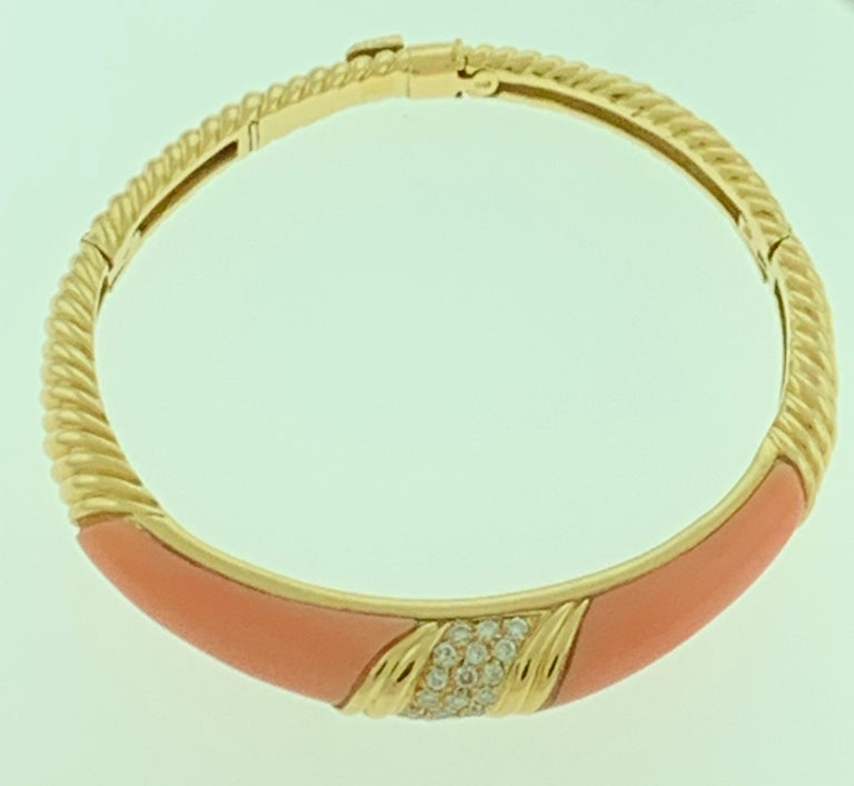 Natural Pink Coral and Diamond Cuff Bangle Bracelet in 18 Karat Yellow Gold For Sale 1