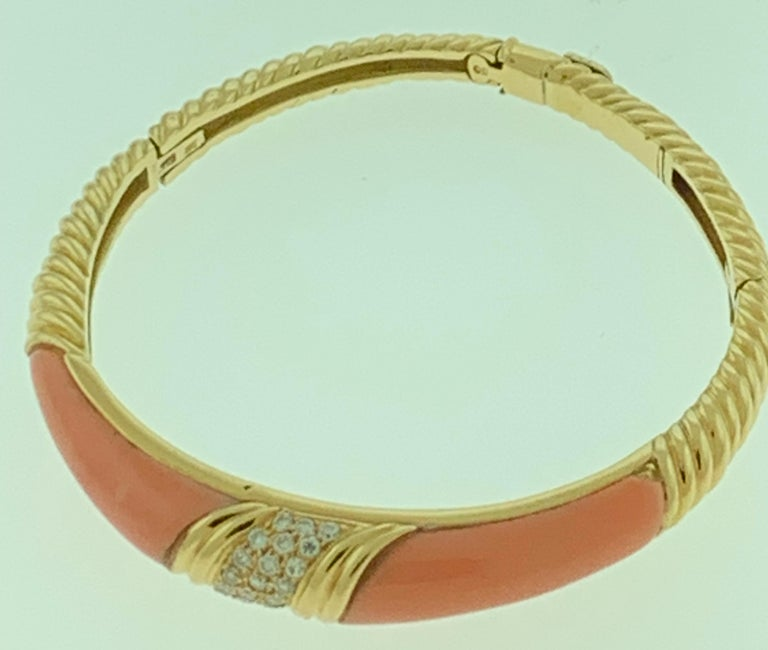 Natural Pink Coral and Diamond Cuff Bangle Bracelet in 18 Karat Yellow Gold For Sale 2