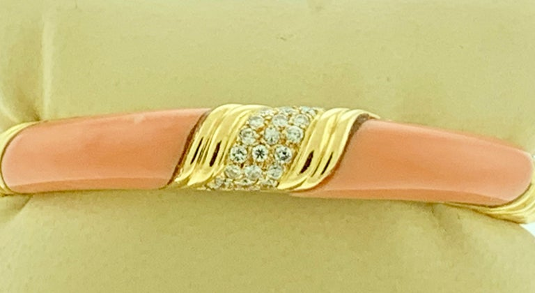 Natural Pink Coral and Diamond Cuff Bangle Bracelet in 18 Karat Yellow Gold For Sale 3