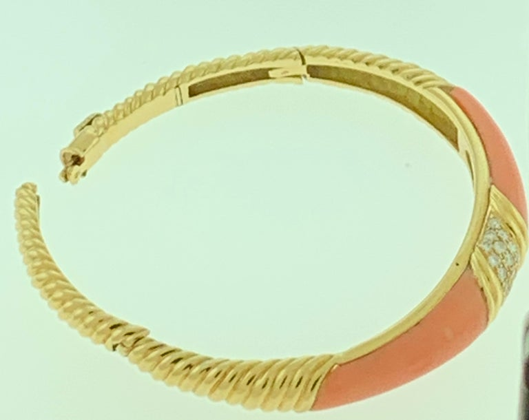 Natural Pink Coral and Diamond Cuff Bangle Bracelet in 18 Karat Yellow Gold For Sale 4