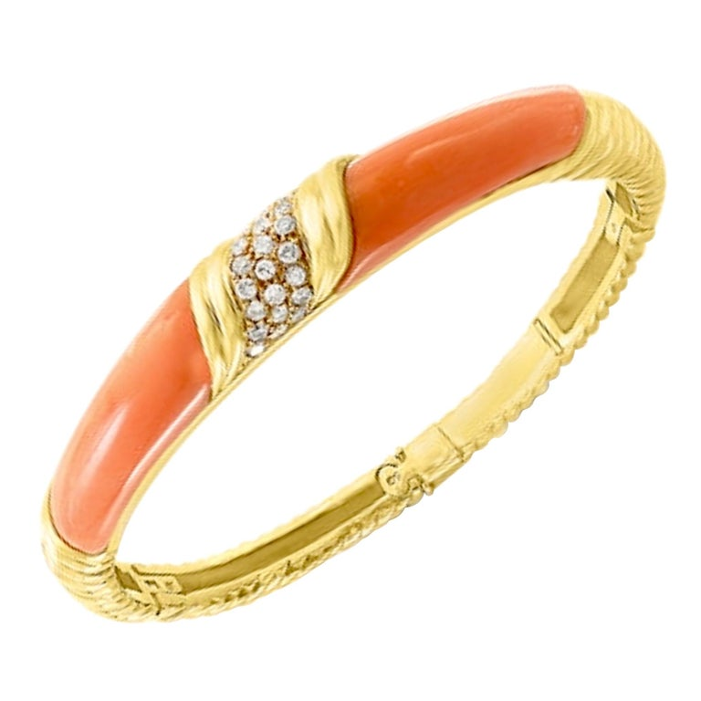 Natural Pink Coral and Diamond Cuff Bangle Bracelet in 18 Karat Yellow Gold For Sale