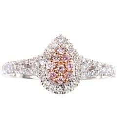 Natural Pink Diamond 18 Karat White Gold Cluster Ring