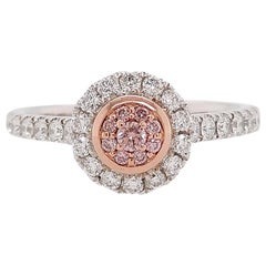 Natural Pink Diamond and White Diamond Ring in Platinum and 18 Karat Pink Gold