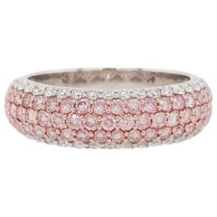 Natural Argyle Pink Diamond Band Ring in Platinum and 18 Karat Pink Gold
