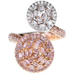 Natural Pink Diamond and White Diamond Twin Ring