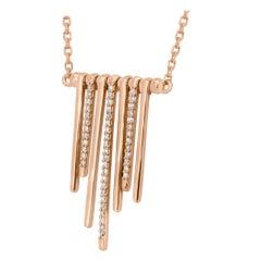 Natural Pink Diamond Round 14 Karat Gold Fashion Drop Pendant Chain Necklace