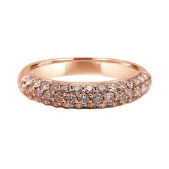 Natural Pink Diamond Round 3 Row 14k Rose Gold Cocktail Anniversary Band Ring