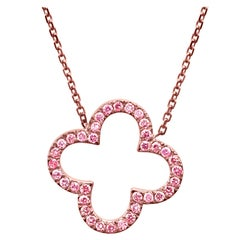 Natural Pink Diamond Rounds Rose Gold Drop Pendant Necklace with Chain