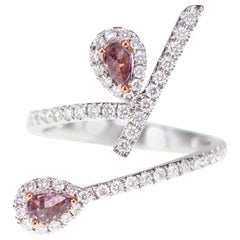 Natural Australian Pink Diamond Twin Cocktail Ring