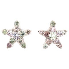Natural Pink, Green and White Diamonds Star Earrings, G.I.A Certified 18kt Gold