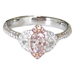 Natural Pink Marquis and White Diamond Cocktail Ring in 18 Karat White Gold