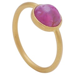 Natural Pink Ruby Cabochon Stackable Ring Handmade in 22 Karat Matte Yellow Gold