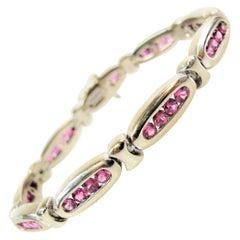 Natural Pink Ruby Oval Link Bracelet in 14 Karat White Gold 5.00 Carat Total