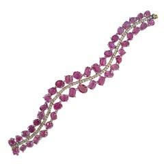 Natural Pink Sapphire and Diamond Bracelet Set in 18 Karat Gold
