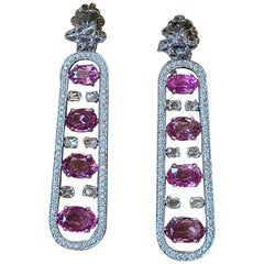 Natural Pink Sapphire and Diamond Earrings Set in 18 Karat Gold
