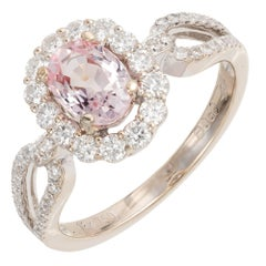 1.13 Carat Natural Pink Sapphire Diamond Halo Gold Engagement Ring