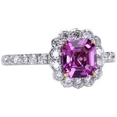 "Natural Pink Sapphire in a Bespoke ""Lotus"" Diamond Platinum Engagement Ring"