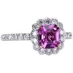 "Natural Pink Sapphire in a Bespoke ""Lotus"" Diamond Platinum Engagement Ring"